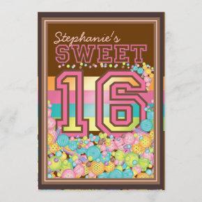 Sweet 16 Sixteen Candy Collection in Pink Brown Invitation