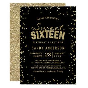 Sweet 16 Sixteen Party | Trendy Gold Glitter Dots Invitations