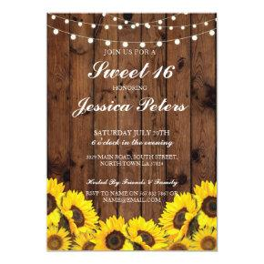 Sweet 16 Sunflower Wood Lights Rustic Invitations