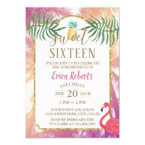 Sweet 16 Tropical Pineapple & Palm Trees Birthday Invitation