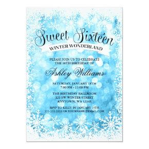 Sweet 16 Winter Wonderland Blue Glitter Lights Invitations