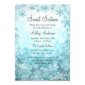 Sweet 16 Winter Wonderland Sparkle Snowflakes Invitations