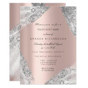 Sweet 16th Dress Spark Rose Silver Pink Diamond Invitation