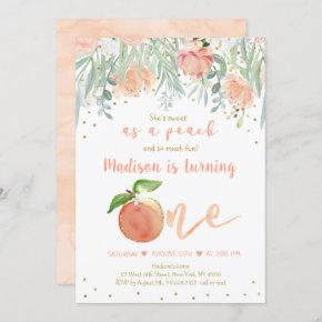 Sweet As A Peach Floral Gold First Birthday Invitation