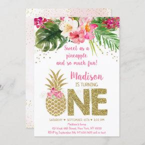 Sweet As A Pineapple Pink Gold First Birthday Invitation