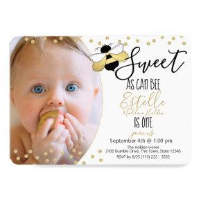 Sweet as can Bee 1st Birthday Party Photo Invitation