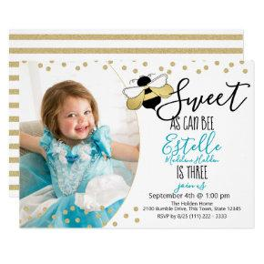 Sweet as can Bee Third Birthday Party Photo Invitation