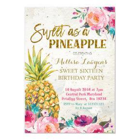 Sweet as pineapple Birthday Invitations