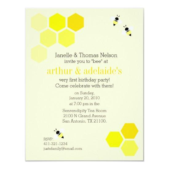 sweet bee BIRTHDAY PARTY girl & boy Invitation