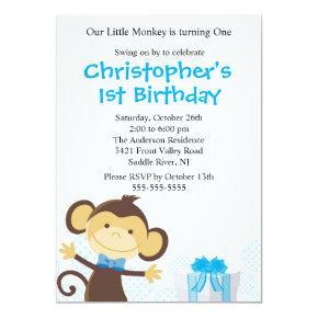 Sweet Boy Monkey Birthday Invitations