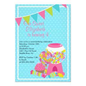 Sweet Candy Bash Girl Birthday Party Invitation