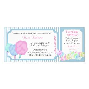 Sweet Carnival Birthday Ticket Invitation