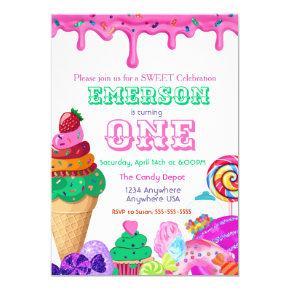 Sweet Celebration, Candyland, Candy Sweets donut Invitation