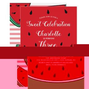 Sweet Celebration Watermelon Birthday Invitation