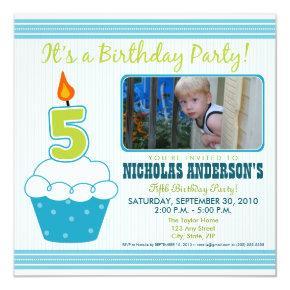 Sweet Cupcake 5th Birthday Party Invitation Aqua