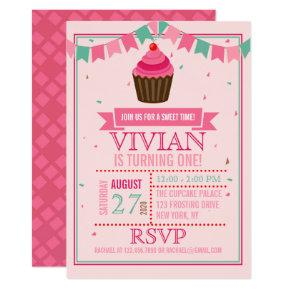 Sweet Cupcake Pink and Green/First Birthday Party Invitations
