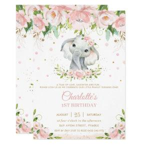 Sweet Elephant Blush Pink Floral Gold 1st Birthday Invitation