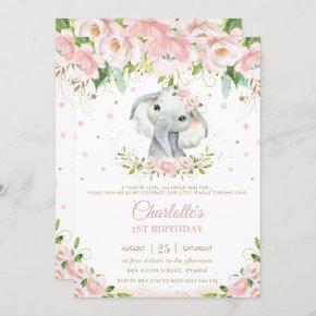 Sweet Elephant Blush Pink Floral Gold 1st Birthday Invitation