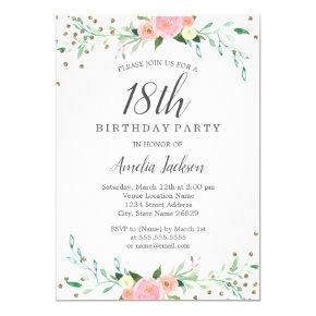 Sweet Floral Sparkle Confetti 18th Birthday Party Invitation