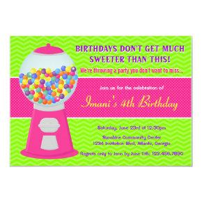 Sweet Gumball Candy Birthday Party Invitations