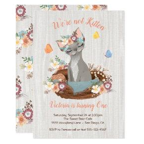 Woodland party birthday invitations candied clouds sweet kitten birthday party invitations filmwisefo