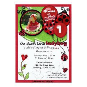 Sweet Ladybug Birthday Invitations ADORABLE (photo)