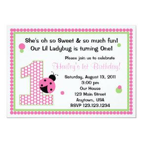 Sweet Ladybug Pink Birthday Invitations