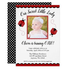 Sweet Ladybug Red Black Photo Birthday