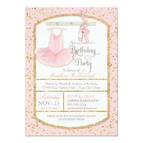 Sweet Little Girl Ballerina Ballet Birthday Party Invitation