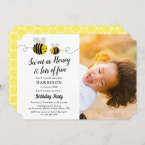 Sweet Little Honey Bee Photo 1st Birthday Invitation