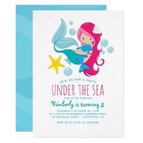 Sweet Mermaid Girl's Birthday Party Invitation
