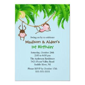 Sweet Monkeys Twins Birthday Invitations