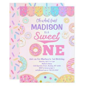 Sweet ONE Rainbow Donut 1st Birthday Invitation