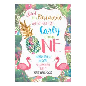 Sweet Pineapple First Birthday Invitation