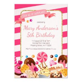 Sweet Shop Candyland birthday Party Invitations