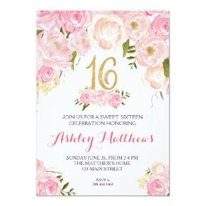 sweet sixteen 16 birthday Floral Invitation, Invitation