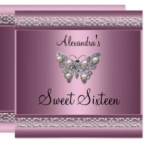 Sweet Sixteen 16 Birthday Satin Pink Butterfly Invitations