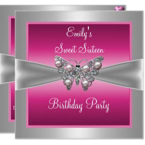 Sweet Sixteen 16 Pink Silver Butterfly Birthday 4 Card