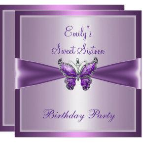 Sweet Sixteen 16 Purple Mauve Butterfly Birthday Invitations