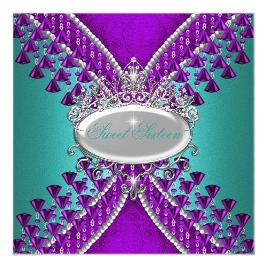 Sweet Sixteen 16th Birthday Party Purple Teal Blue