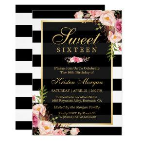 Sweet Sixteen Beautiful Floral Black White Stripes Invitation
