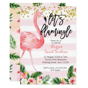 Sweet sixteen flamingo invitation