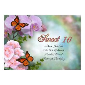 Sweet Sixteen Invitations butterflies and flowers