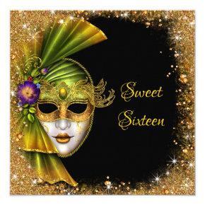 Sweet Sixteen, Masquerade, Gold Glitter Invitations