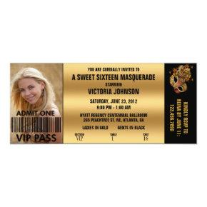 Sweet Sixteen Masquerade VIP Admission Ticket Invitation