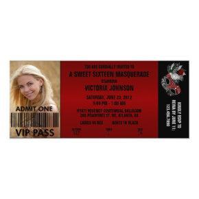 Sweet Sixteen Masquerade VIP Admission Ticket Invitation