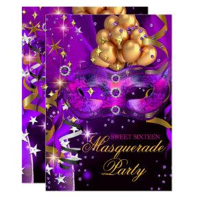 Sweet Sixteen Purple Gold Black Masquerade Party Card