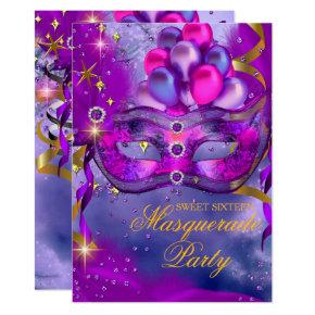 Sweet Sixteen Purple Gold Blue Masquerade Party Invitations