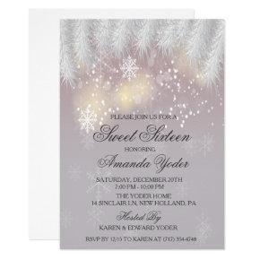 Sweet Sixteen Winter Snowflake Invitation