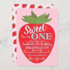 Sweet to be One Strawberry Kids First Birthday Invitation